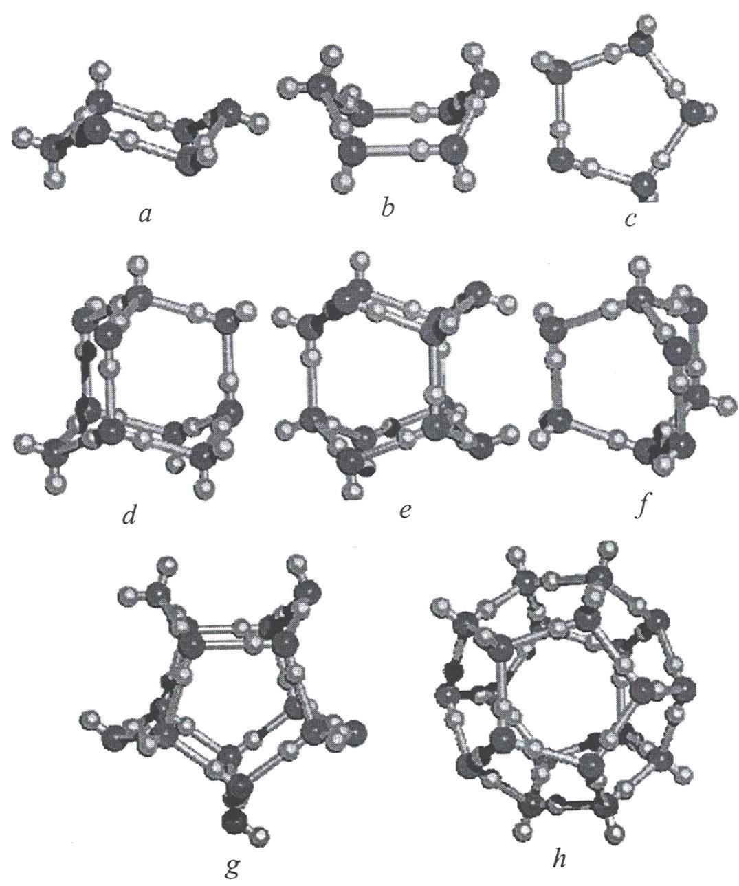 Возможные структуры и конформации кластеров воды (a-h) состава (H2O)n