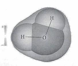 Локальное распределение некомпенсированных зарядов в молекуле воды.
